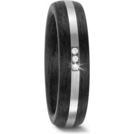 Unisex Carbon And Palladium Diamond Wedding Ring
