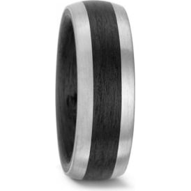 Unisex Carbon And Palladium Wedding Ring