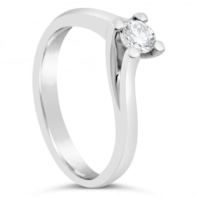 Lance James Engagement 18ct White Gold 0.27ct Diamond Solitaire Twist Ring