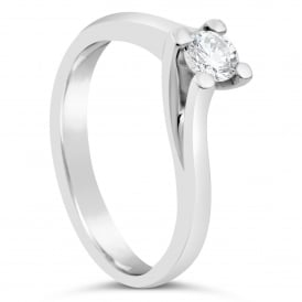 18ct White Gold 0.27ct Diamond Solitaire Twist Ring