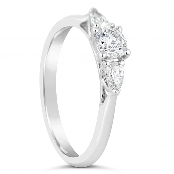 Lance James Engagement 18ct White Gold 0.31ct Mixed Three Stone Ring