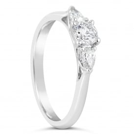 18ct White Gold 0.31ct Mixed Three Stone Ring