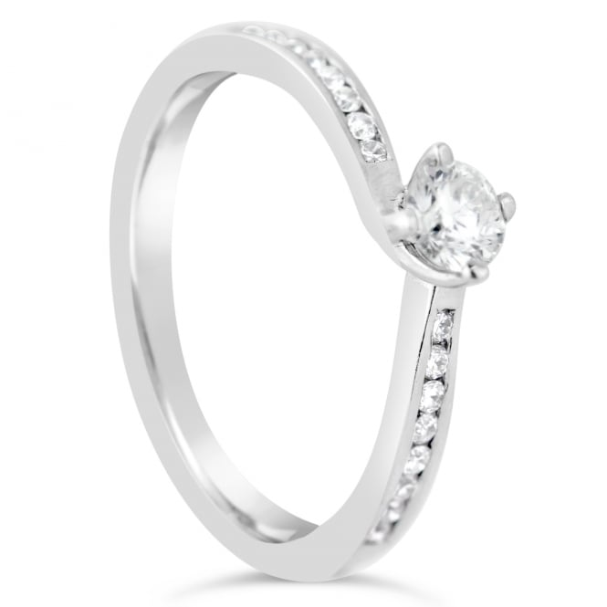 Lance James Engagement 18ct White Gold 0.39ct Diamond Solitaire Engagement Ring