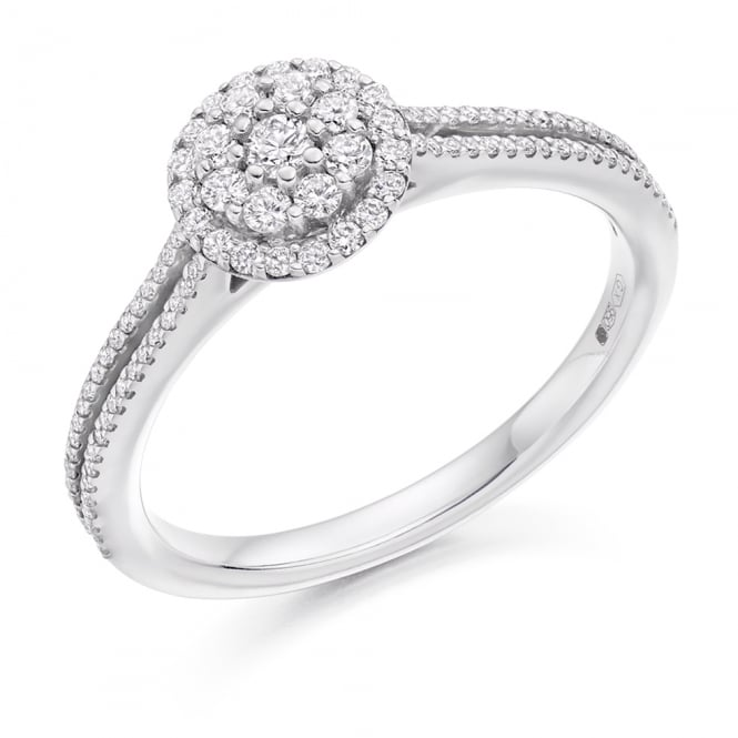 Lance James Engagement 18ct White Gold 0.40ct Micro-Claw Set Diamond Engagement Ring
