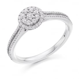 18ct White Gold 0.40ct Micro-Claw Set Diamond Engagement Ring