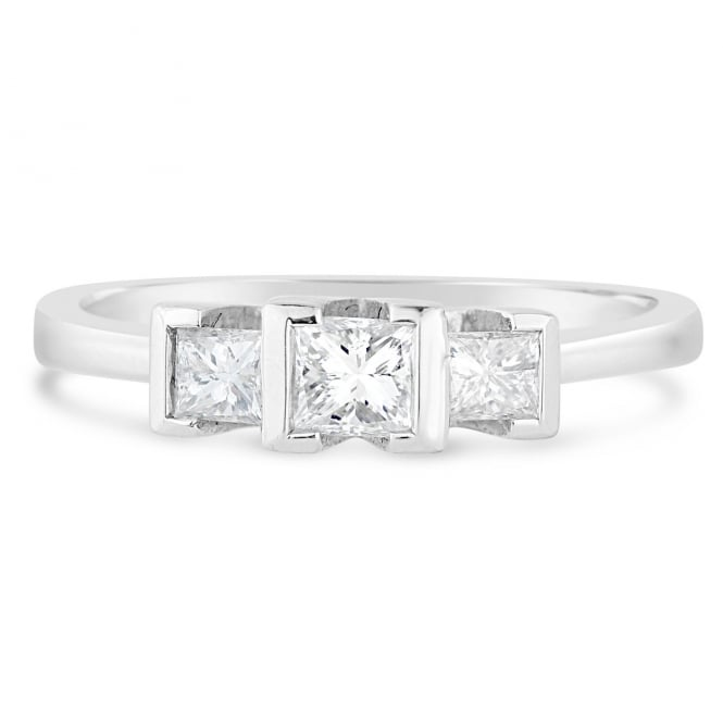 Lance James Engagement 18ct White Gold 0.42ct Three Stone Diamond Engagement Ring