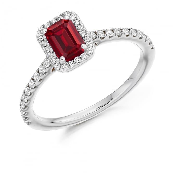 Lance James Engagement 18ct White Gold 0.50ct Ruby Cluster Engagement Ring