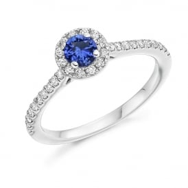 18ct White Gold 0.55ct Blue Sapphire Engagement Ring