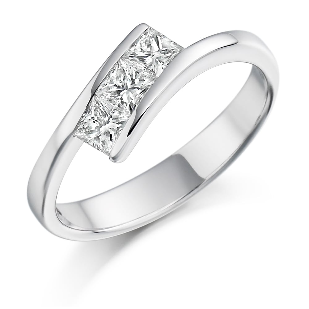 f608b222d0a81 Lance James Engagement 18ct White Gold 0.55ct Three Stone Diamond Trilogy  Ring