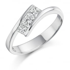 18ct White Gold 0.55ct Three Stone Diamond Trilogy Ring