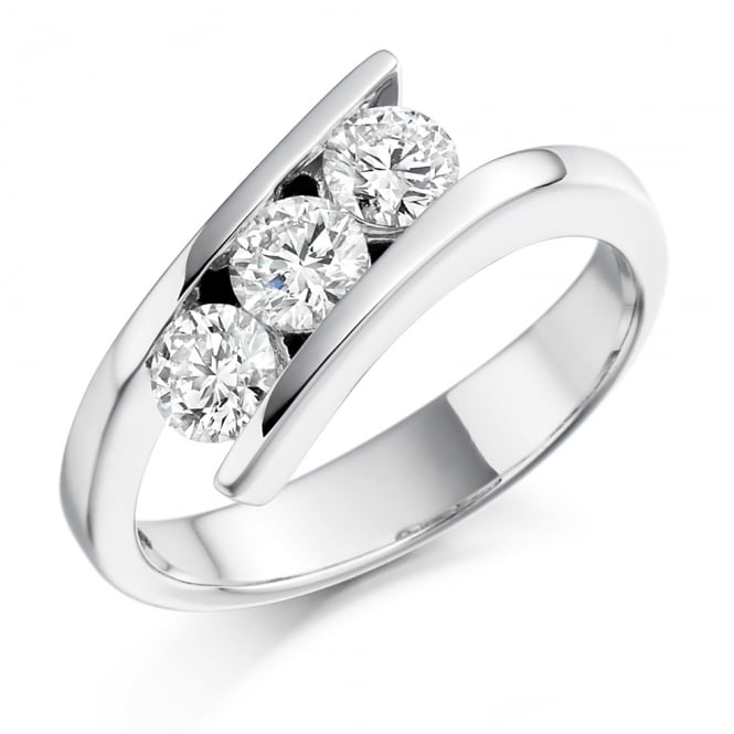 Lance James Engagement 18ct White Gold 0.75ct Three Stone Diamond Ring