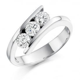 18ct White Gold 0.75ct Three Stone Diamond Ring