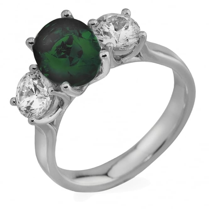 Lance James Engagement 18ct White Gold 0.80ct Diamond & Emerald Engagement Ring