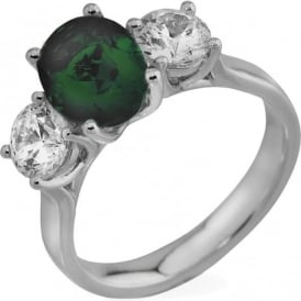 18ct White Gold 0.80ct Diamond & Emerald Engagement Ring