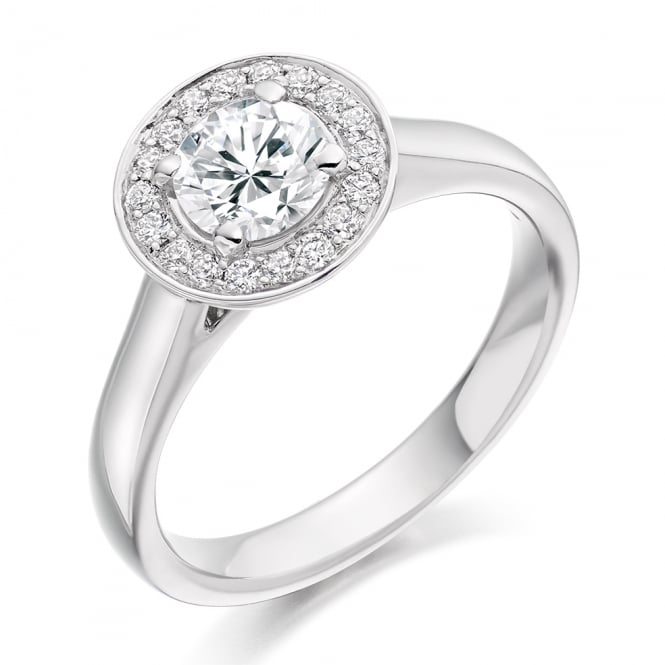 Lance James Engagement 18ct White Gold 0.95ct Halo Engagement Ring