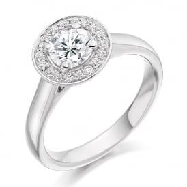 18ct White Gold 0.95ct Halo Engagement Ring