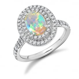18ct White Gold 1.00ct Diamond & Opal Engagement Ring