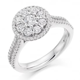 18ct White Gold 1.00ct Diamond Set Halo Engagement Ring