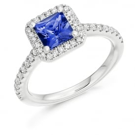 18ct White Gold 1.45ct Tanzanite & Diamond Engagement Ring