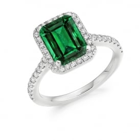 18ct White Gold 1.90ct Emerald & Diamond Cluster Engagement Ring