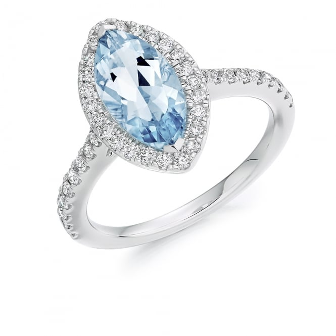 Lance James Engagement 18ct White Gold 2.00ct Aquamarine & Diamond Engagement Ring