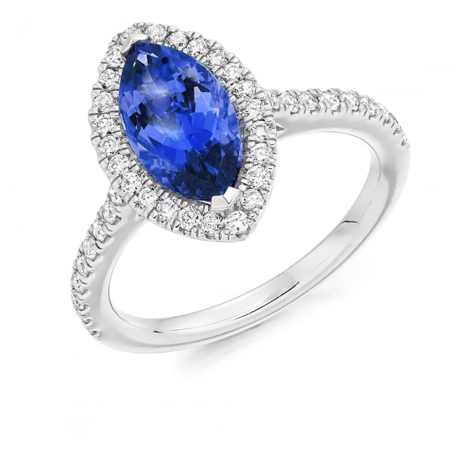 Lance James Engagement 18ct White Gold 2.00ct Marquise Tanzanite & Diamond Engagement Ring
