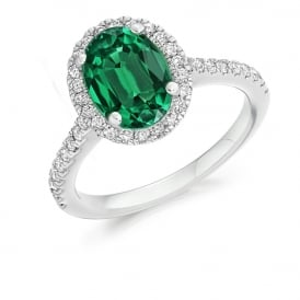 18ct White Gold 2.14ct Emerald & Diamond Cluster Engagement Ring