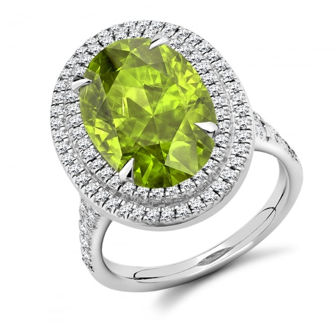 Lance James Engagement 18ct White Gold 7.10ct Peridot & Diamond Engagement Ring