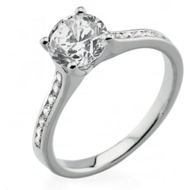 18ct White Gold Brilliant Diamond Engagement Ring