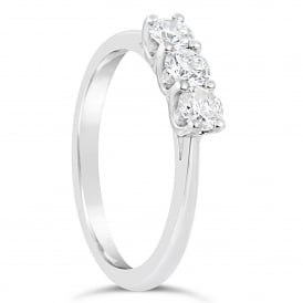18ct White Gold Classic 0.75ct Three Stone Diamond Ring