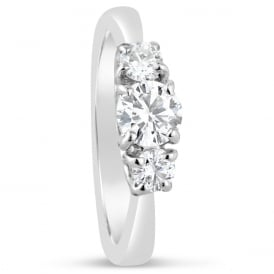18ct White Gold Diamond Trilogy Engagement Ring