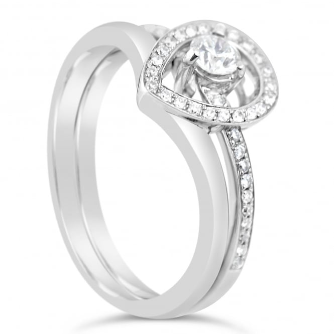 Lance James Engagement 18ct White Gold Double Band 0.37ct Diamond Ring