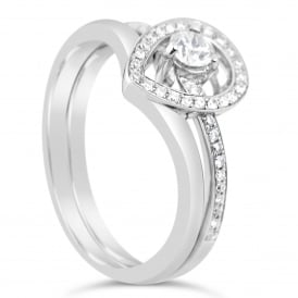 18ct White Gold Double Band 0.37ct Diamond Ring