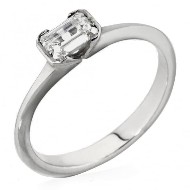Lance James Engagement 18ct White Gold Emarald Cut 0.25ct Diamond Ring
