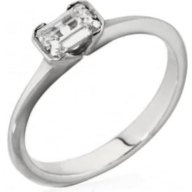 18ct White Gold Emarald Cut Diamond Ring