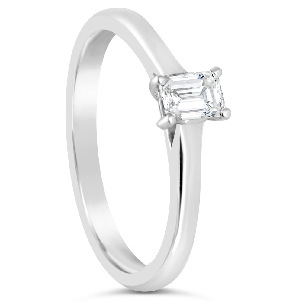 engagement white products in emerald cut gold solitaire ring