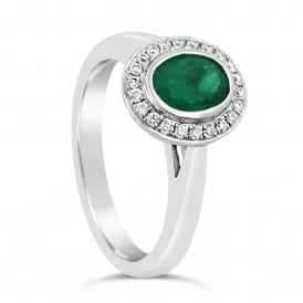 18ct White Gold Emerald & Diamond Halo Ring