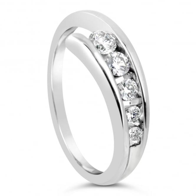 Lance James Engagement 18ct White Gold Graduated 0.33ct Diamond Row Ring