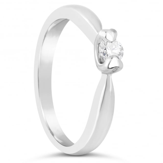Lance James Engagement 18ct White Gold Heart Claw Diamond Ring