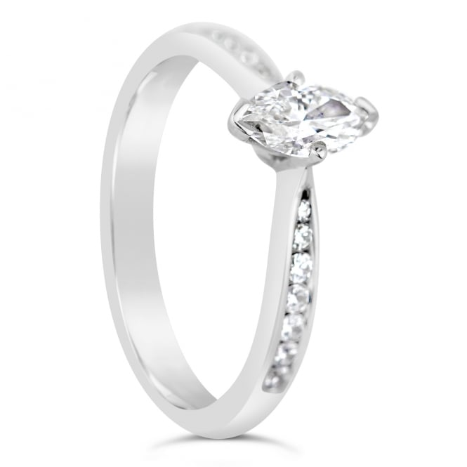 Lance James Engagement 18ct White Gold Marquise 0.59ct Diamond Ring