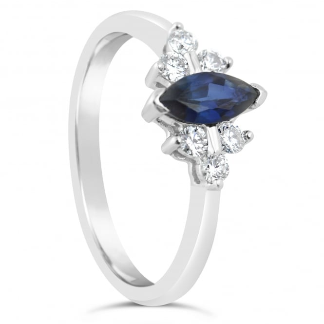 Lance James Engagement 18ct White Gold Marquise Sapphire & Diamond Ring
