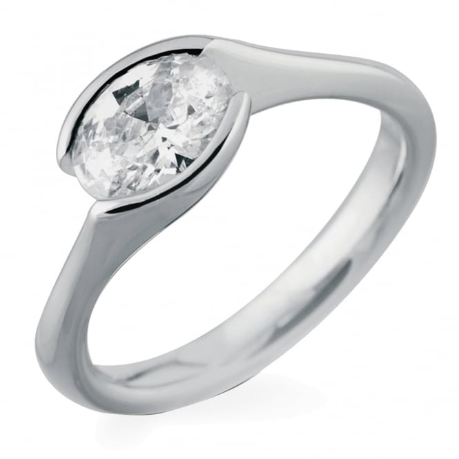 Lance James Engagement 18ct White Gold Oval Cut 0.50ct Diamond Ring