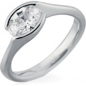 18ct White Gold Oval Cut 0.50ct Diamond Ring