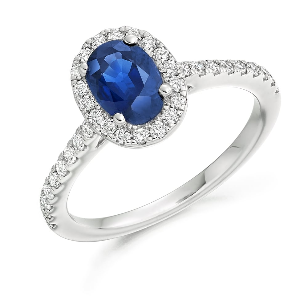 18ct White Gold Oval Cut Blue Sapphire Engagement Ring