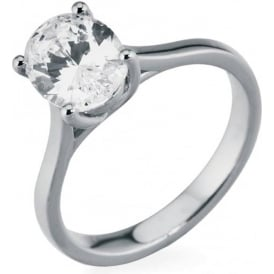 18ct White Gold Oval Diamond Engagement Ring