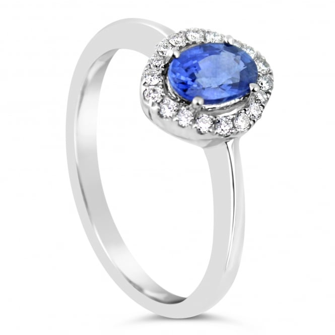 Lance James Engagement 18ct White Gold Oval Sapphire & Diamond Ring