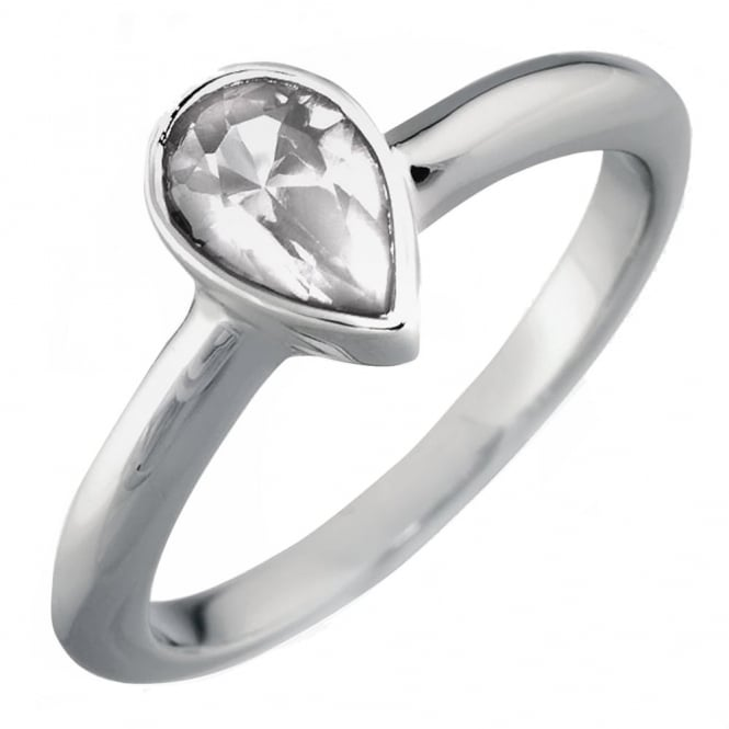 Lance James Engagement 18ct White Gold Pear Diamond Engagement Ring