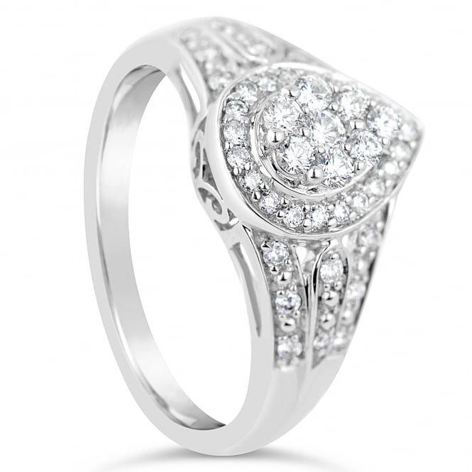 Lance James Engagement 18ct White Gold Pear Shaped 0.38ct Diamond Halo Ring