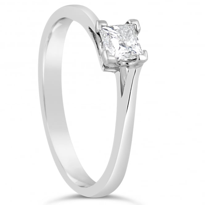 Lance James Engagement 18ct White Gold Princess Twist Ring