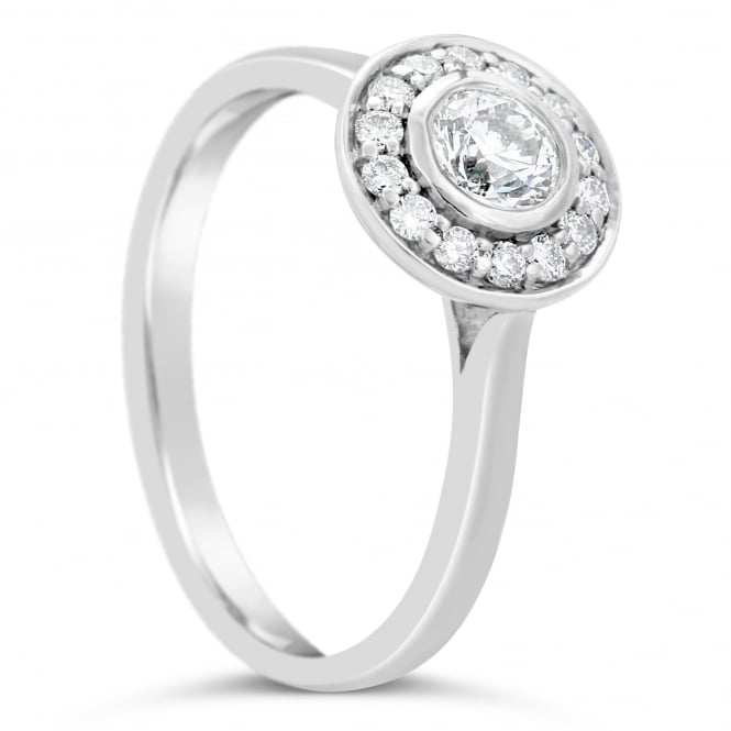Lance James Engagement 18ct White Gold Round 0.51ct Diamond Cluster Ring